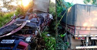 Dois homens morrem na BR-364 em acidente envolvendo Fiat Strada e carreta