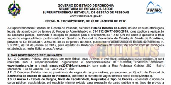 Governo de Rondônia abre concurso com 1.143 vagas e salários de até R$ 9.028; Veja o edital