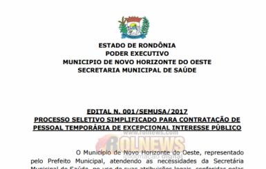 Prefeitura de Novo Horizonte divulga edital com vagas para médicos