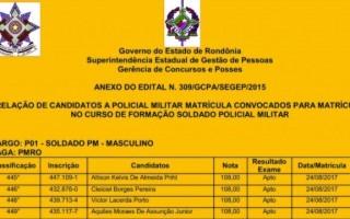 Veja lista: Governo convoca 240 alunos candidatos para curso de formação da PM