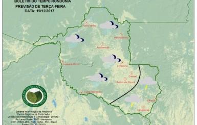 Tempo chuvoso segue firme nesta terça-feira em Rondônia