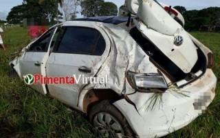 Motorista perde controle da direção e capota carro na RO-010