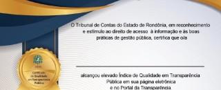 Município de Rolim de Moura receberá certificado de qualidade em transparência