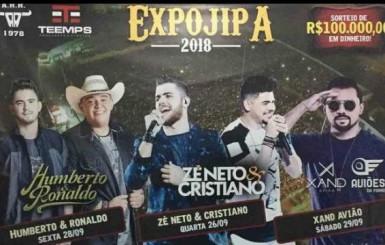 Zé Neto e Cristiano, Xand Avião e Humberto & Ronaldo  vão agitar a Expojipa 2018