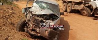 Nova Brasilândia – Duas vítimas são socorridas ao hospital após colisão frontal entre caminhão caçamba e...