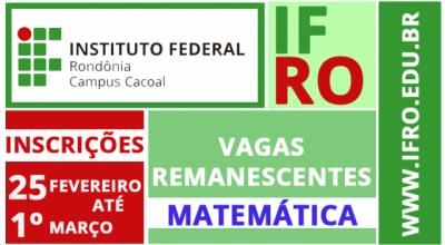 IFRO Campus Cacoal oferece vagas remanescentes para Licenciatura em Matemática
