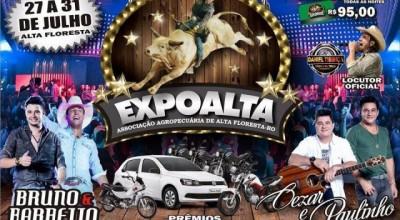 28ª Expoalta acontece em julho e traz shows de Bruno e Barretto e Cezar e Paulinho