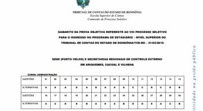 Tribunal de Contas divulga gabarito das provas para estágio em Rondônia