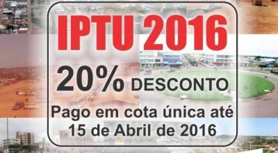 Rolim:Prazo para pagar IPTU com 20% de desconto encerra nesta sexta-feira
