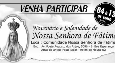 Igreja Católica celebra Novenário e Solenidade de Nossa Senhora de Fátima em Rolim
