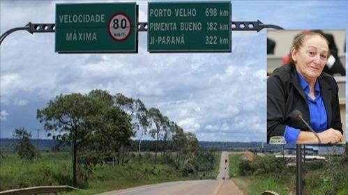 ALE propõe que trecho da BR-364 entre Pimenta Bueno e Porto Velho ganhe nome da deputada Lúcia Tereza