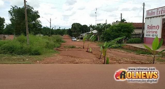 Sem esperança, moradores plantam bananeira na rua para sinalizar buracos em Rolim de Moura