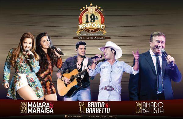 Cacoal: 19ª Expoac anuncia shows de Maiara e Maraisa, Bruno e Barretto e Amado Batista