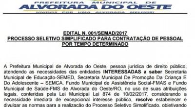 Liminar determina suspensão de Processo Seletivo da Prefeitura de Alvorada