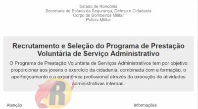 Inscrições para serviços administrativos da PM e Bombeiros iniciam na sexta; grave o site para se inscrever