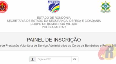 Já estão abertas as inscrições para serviços administrativos da PM e Bombeiros de Rondônia