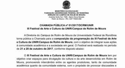 Unir de Rolim de Moura divulga chamada para o seu III Festival de Cultura