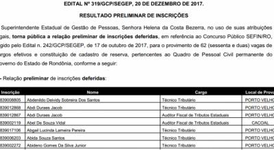 FGV divulga relação de inscrições deferidas no concurso da Sefin de Rondônia