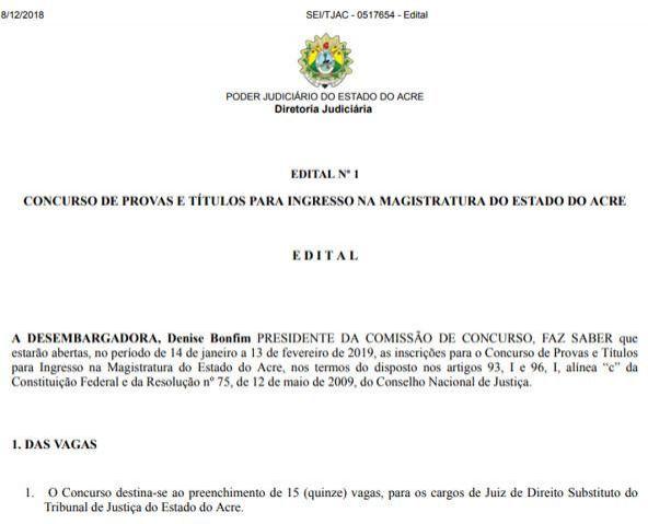 Tribunal de Justiça do Acre tem inscrições abertas para 15 vagas de juiz, com salário de R$ 30 mil