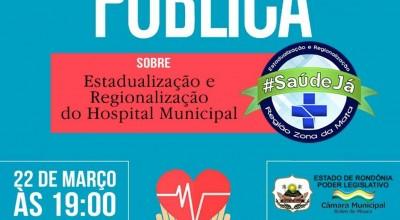 Audiência Pública: Regionalização da saúde será debatida na câmara em Rolim