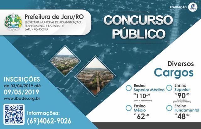 Prefeitura de Jaru, Câmara Municipal e Jaru-Previ lançam editais de concurso com mais de 100 vagas