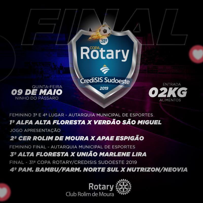2 quilos de alimentos para final da Copa Rotary nesta quinta-feira