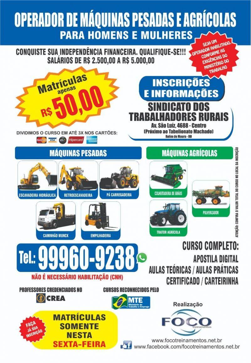 Rolim de Moura: Foco treinamentos dará cursos para  Máquinas pesadas e agrícolas