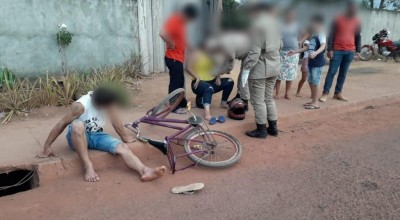 Ciclista e motociclista se envolvem em acidente no Conjunto Habitacional Jatobá I em Rolim de Moura