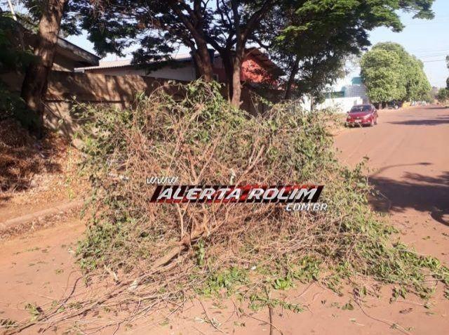 Galho de árvore cai sobre mulher enquanto trafegava de moto e um graveto fica cravado em sua perna