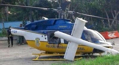 BATEU: Helicóptero da PRF colide com placa ao tentar pousar no pátio