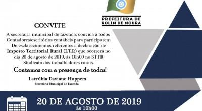 Prefeitura de Rolim de Moura realizará reunião com contadores sobre ITR 2019