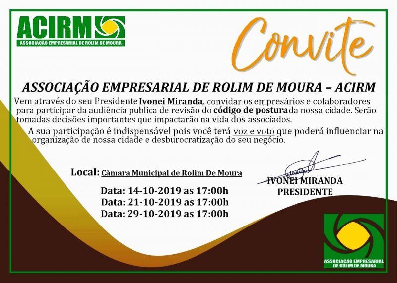 Convite da Acirm para associados participar de Audiência Pública sobre Código de Postura do município