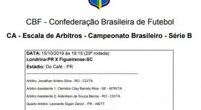 Futebol: árbitro de Rolim de Moura escalado para atuar em jogo da Série B do Brasileirão