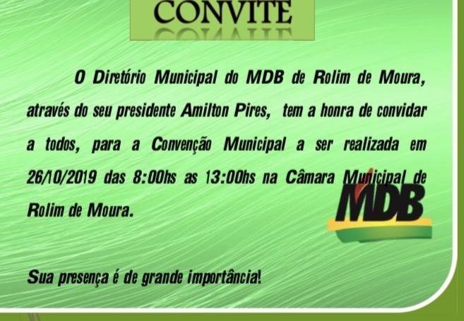 Rolim: Eleições 2020 MDB fará convenção dia 26