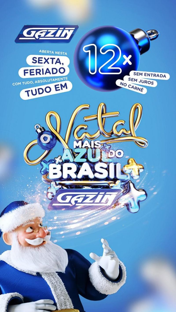 Gazin lança Natal mais Azul do Brasil nesta sexta-feira