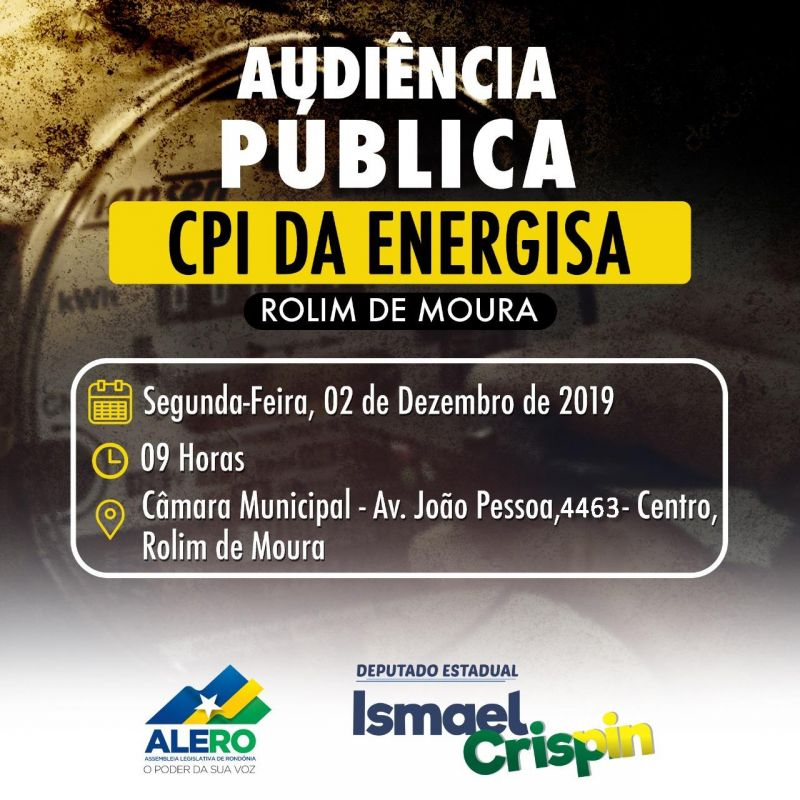 Rolim de Moura  terá Audiência Pública sobre CPI da Energisa