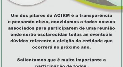 Acirm terá eleições para nova diretoria e convoca associados para reunião