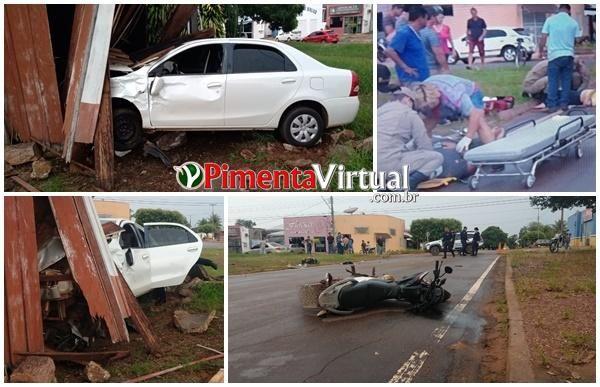 Vítimas ficam inconscientes após grave acidente no centro de Pimenta Bueno