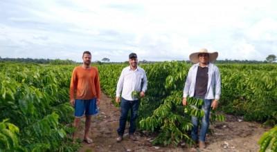 Secretário de Agricultura de Rolim de Moura visita produtores rurais contemplados com mudas de café