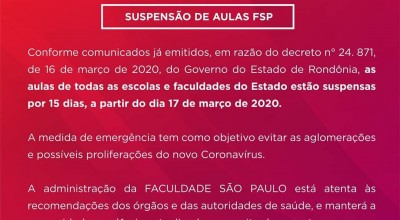 Covid 19: FSP anuncia suspensão das aulas por duas semanas