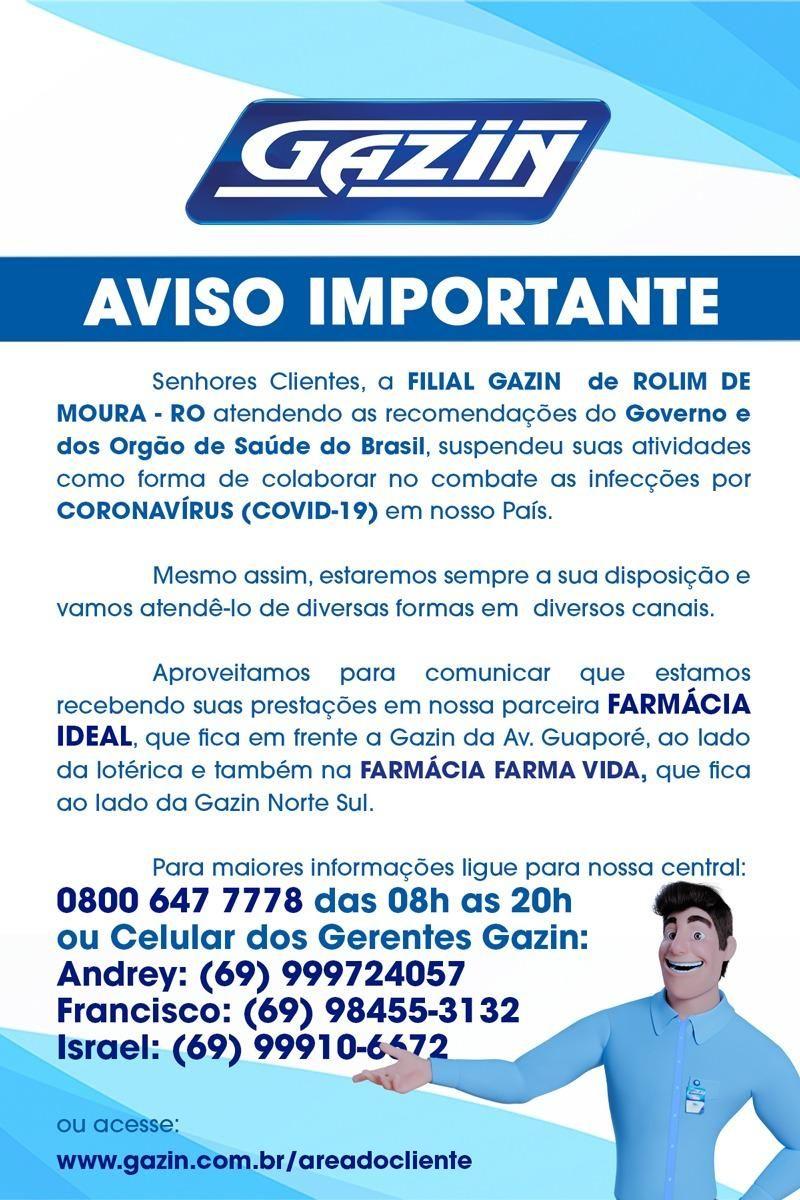 Gazin de Rolim de Moura emite comunicado para clientes