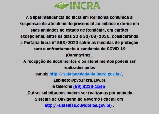 Incra suspende atendimento presencial ao público em Rondônia