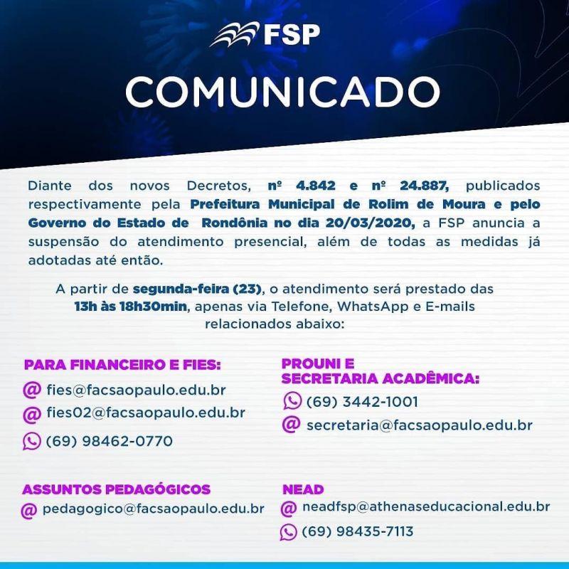 Rolim: FSP suspende atendimento presencial