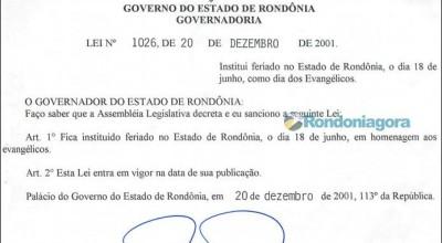Supremo declara inconstitucional a lei que instituiu o Dia do Evangélico em Rondônia