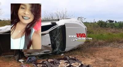 Identificada jovem que morreu em capotamento de S-10 em Alta Floresta