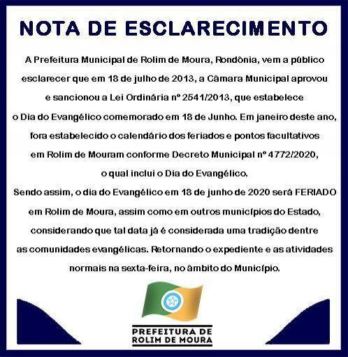 Dia do Evangélico é feriado municipal em Rolim