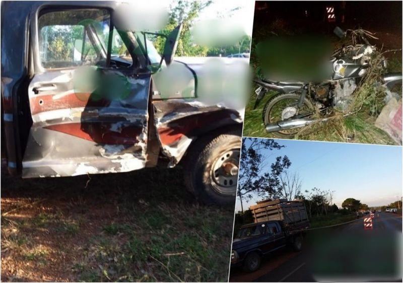 Motociclista bate na lateral de caminhonete e morre na BR-429