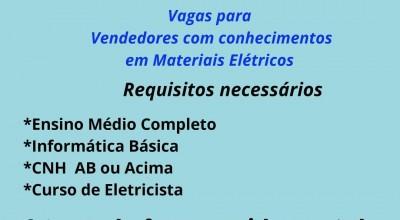 Vaga de emprego para vendedor de materiais elétricos em Rolim
