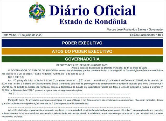 Novo decreto mantém suspensão de aulas presenciais até o dia 1º de setembro, em Rondônia
