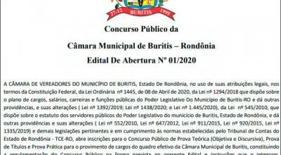 Câmara de Buritis abre concurso público com vagas para todos os níveis